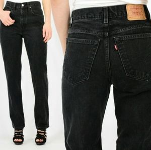 Unisex Vintage Levis Black 90s Slim Straight Jeans
